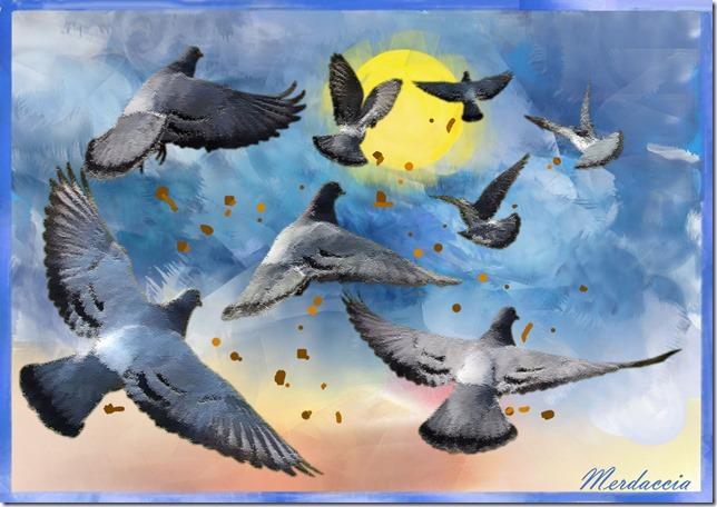 Squadriglia di piccioni della Merdaccia Air Forze in fase di sgancio.