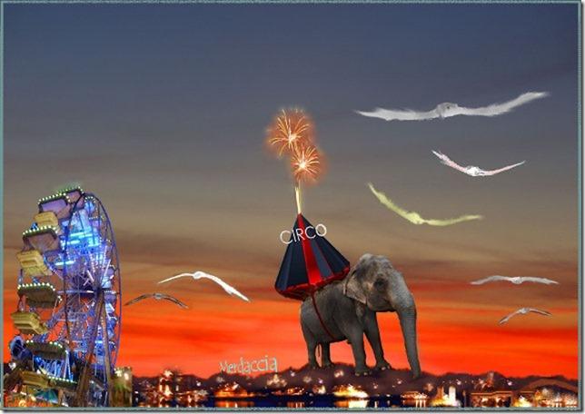 tramonto con elefante